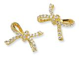 Cheryl M Gold Plated Sterling Silver CZ Bow Post Earrings
