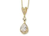 Cheryl M Gold Plated Sterling Silver Pear CZ 18in Necklace