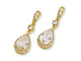 Cheryl M™ Gold Plated Sterling Silver Pear CZ Dangle Post Earrings
