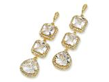 Cheryl M™ Gold Plated Sterling Silver Rose-cut CZ Dangle Post Earrings