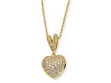 Cheryl M™ Gold Plated Sterling Silver CZ Heart 17.5in Necklace