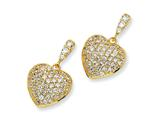 Cheryl M Gold Plated Sterling Silver CZ Heart Dangle Post Earrings
