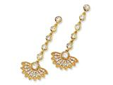 Cheryl M™ Gold Plated Sterling Silver CZ Fan Dangle Post Earrings