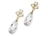 Cheryl M Gold Plated Sterling Silver Teardrop Dangle CZ Post Earrings