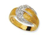 Cheryl M™ Gold Plated Sterling Silver Satin Belt CZ Ring