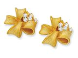 Cheryl M Gold Plated Sterling Silver Satin Finish Bow CZ Post Earrings