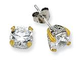 Cheryl M™ Sterling Silver and Gold Plated 6.5mm CZ Stud Earrings