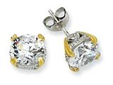 Cheryl M Sterling Silver and Gold Plated 8mm CZ Stud Earrings