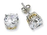 Cheryl M™ Sterling Silver and Gold Plated 8mm CZ Stud Earrings
