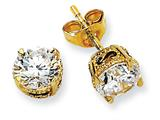 Cheryl M™ Gold Plated and Black-plated Sterling Silver 6.5mm CZ Stud Earrings