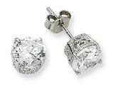 Cheryl M™ Sterling Silver 6.5mm CZ Stud Earrings style: QCM235