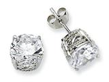Cheryl M™ Sterling Silver 8mm CZ Stud Earrings style: QCM236