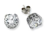 Cheryl M™ Sterling Silver 8mm CZ Stud Earrings style: QCM238