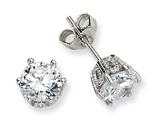 Cheryl M Sterling Silver 6.5mm CZ Stud Earrings