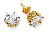 Cheryl M Gold Plated Sterling Silver 8mm CZ Stud Earrings