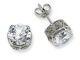 Cheryl M™ Sterling Silver 8mm CZ Stud Earrings style: QCM243