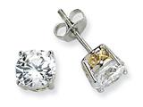 Cheryl M™ Sterling Silver and Gold Plated X and O 6.5mm CZ Stud Earrings