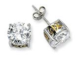 Cheryl M™ Sterling Silver and Gold Plated X and O 8mm CZ Stud Earrings