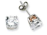 Cheryl M™ Sterling Silver and Rose Gold Plated Heart 6.5mm CZ Stud Earrings