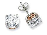 Cheryl M™ Sterling Silver and Rose Gold Plated Heart 8mm CZ Stud Earrings