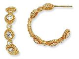 Cheryl M™ Gold Plated Sterling Silver CZ Post Fancy Hoop Earrings