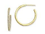 Cheryl M Gold Plated Sterling Silver In/Out CZ Post Hoop Earrings