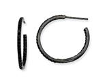 Cheryl M™ Black-plated Sterling Silver In/Out Black CZ Post Hoop Earrings