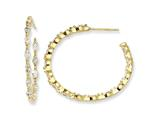 Cheryl M™ Gold Plated Sterling Silver In/Out Marquise CZ Post Hoop Earrings