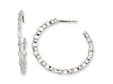 Cheryl M Sterling Silver In/Out Marquise CZ Post Hoop Earrings