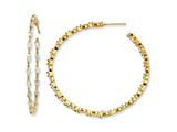 Cheryl M Gold Plated Sterling Silver In/Out Marquise CZ Post Hoop Earrings