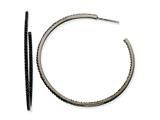 Cheryl M Black-plated Sterling Silver In/Out Black CZ Post Hoop Earrings