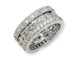Cheryl M Sterling Silver CZ Eternity Three Ring Set