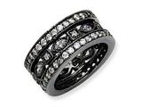 Cheryl M™ Black-plated Sterling Silver CZ Eternity Three Ring Set style: QCM270