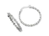 Cheryl M Sterling Silver CZ Fancy Hoop Earrings