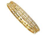 Cheryl M™ Gold Plated Sterling Silver CZ Three Bangle Set