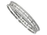 Cheryl M Sterling Silver CZ Three Bangle Set