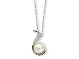 Cheryl M™ Sterling Silver CZ White Cultured Pearl Swirl 18In Necklace