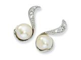 Cheryl M™ Sterling Silver CZ Cultured Pearl Swirl Post Earrings