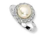 Cheryl M Sterling Silver CZ Pink Cultured Pearl Ring