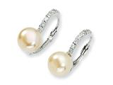 Cheryl M™ Sterling Silver CZ Pink Cultured Pearl Leverback Earrings