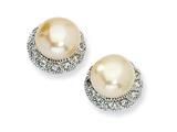 Cheryl M™ Sterling Silver CZ Pink Cultured Pearl Stud Earrings