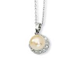 Cheryl M™ Sterling Silver CZ Pink Cultured Pearl 18In Necklace