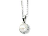 Cheryl M™ Sterling Silver CZ White Cultured Pearl 18In Necklace