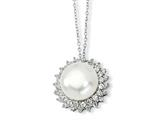 Cheryl M Sterling Silver CZ Cultured Pearl 18In Necklace