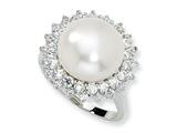 Cheryl M Sterling Silver CZ Cultured Pearl Ring