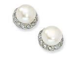 Cheryl M™ Sterling Silver CZ White Cultured Pearl Stud Earrings