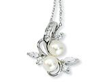 Cheryl M™ Sterling Silver CZ White Cultured Pearl Leaves 18In Necklace