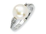 Cheryl M Sterling Silver CZ White Cultured Pearl Ring