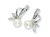Cheryl M™ Sterling Silver CZ Cultured Pearl Leaf Post Earrings