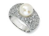 Cheryl M™ Sterling Silver CZ White Cultured Pearl Ring